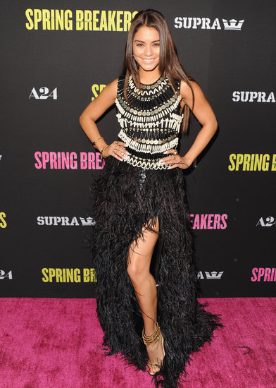 Vanessa Hudgens pulled out all the glamorous stops in this embellished, ostrich-feathered, and sexy thigh-high-slit-infused Naeem Khan gown at the Spring Breakers LA premiere. She completed her ensemble with Neil Lane jewels and gold strappy sandals.