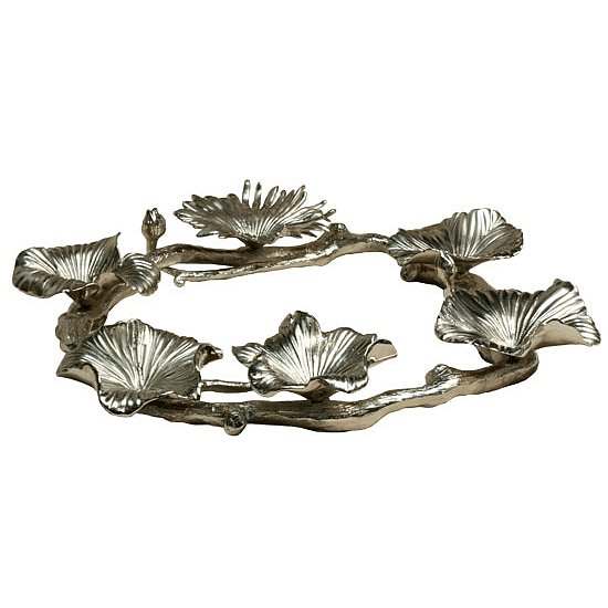 Pewter gingko leaves take the place of dishes on this unusual interpretation of a seder plate ($350).