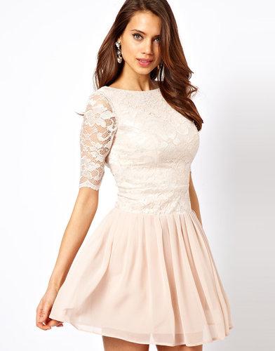 Elise Ryan Short Sleeved Dress with V Back