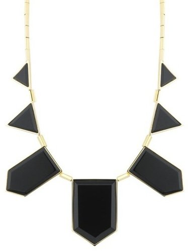 House of Harlow 1960 Jewelry 5 Station Necklace with Black Resin