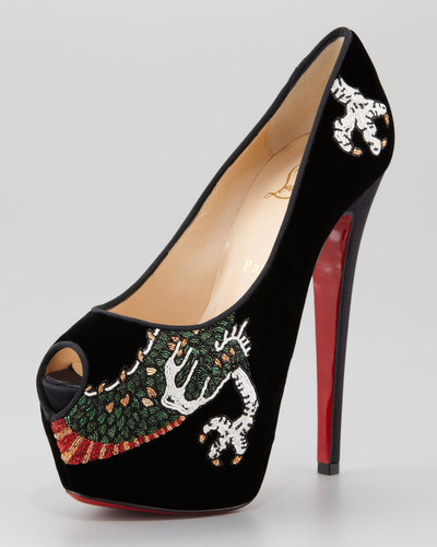 Christian Louboutin Highness Dragon Tattoo Platform Red Sole Pump
