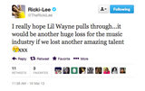 Ricki-Lee send a shoutout to Lil Wayne upon hearing of his hospitalisation.