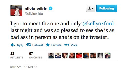 Olivia Wilde joins the Kelly Oxford fan club after meeting the screenwriter.