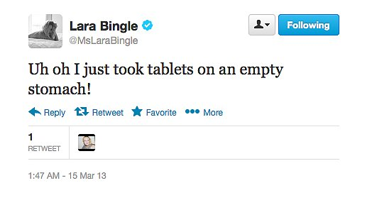 That's a recipe for disaster, Lara Bingle.
