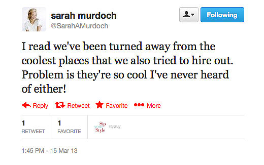 Sarah Murdoch rights some rumour-mill wrongs via her Twitter account.