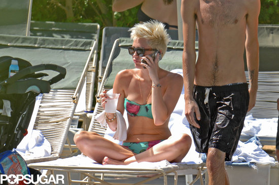 Ringless Miley Cyrus Rocks a Bikini and a New Tattoo Poolside