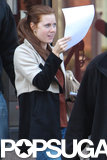 Amy Adams popped up on set in Boston.