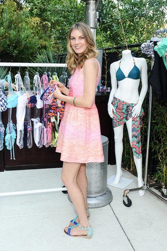 Model Angela Lindvall donned a pretty Shoshanna dress and colorblocked Matt Bernson sandals at an outdoor LA event.   Source: Stefanie Keenan