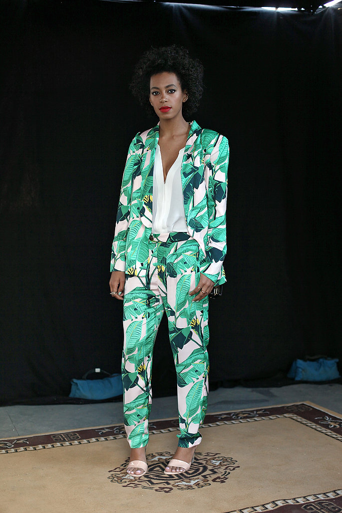 Solange Knowles was undeniably fresh in a green printed Pencey x Mia Moretti suit and nude ankle-strap sandals at the 2013 South by Southwest festival in Austin.