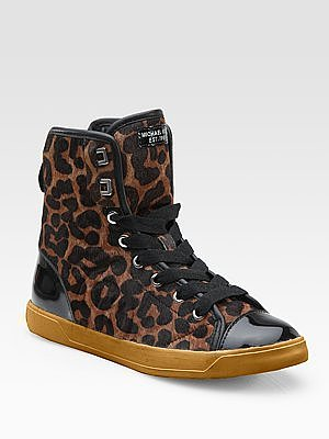 City Leopard-Print Haircalf & Patent Leather High-Top Sneakers