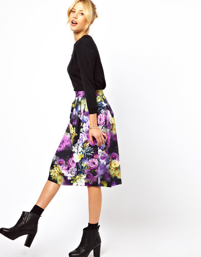 ASOS Midi Skirt in Statement Floral Print
