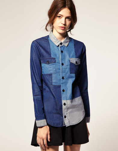 ASOS Colour Blocked Denim Shirt