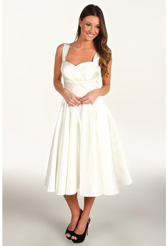 Unique Vintage - Happily Ever After Pleated Swing Dress (Ivory Satin) - Apparel