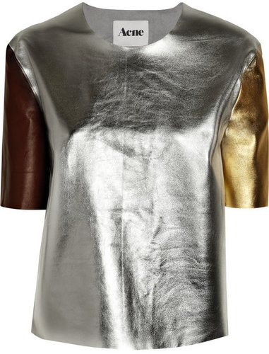 Acne Moma metallic leather patchwork top