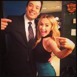 Hayden Panettiere and Jimmy Fallon were equally excited to see one another backstage at his show. Source: Twitter user haydenpanettier