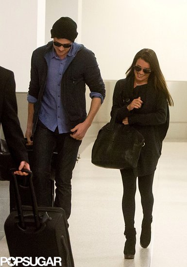 Lea Michele and boyfriend Cory Monteith arrived at LAX together after a trip to Vancouver.