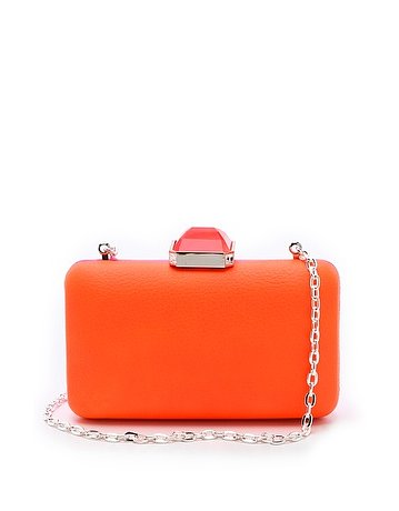 This Overture Judith Leiber Jamie neon colorblocked clutch ($207, originally $295) is orange in the front and hot pink in the back — double the styling possibilities!