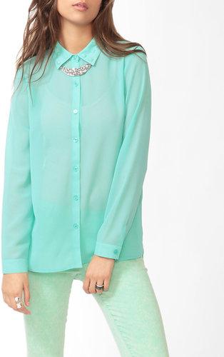 FOREVER 21 Studded Collar Blouse