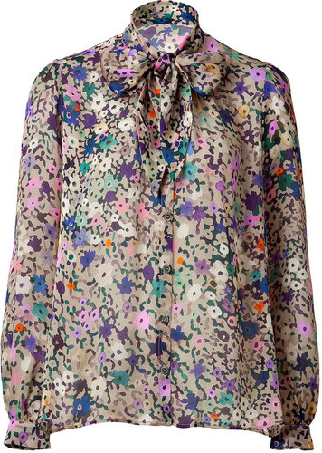 Paul &amp; Joe Beige Multi Color Printed Silk Blouse