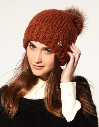 River Island Faux Fur Bobble Knit Hat