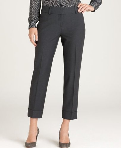 Wool Twill Cropped Cuffed Pants