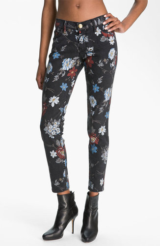 Current/Elliott 'The Stiletto' Print Skinny Jeans (Black Wildflower)