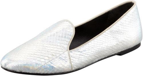 B Brian Atwood Claudelle Hologram Snakeskin Slipper, Silver