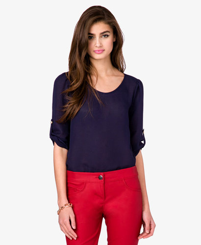 FOREVER 21 Essential Button Tab Blouse