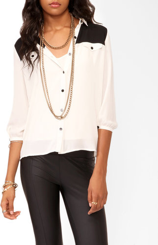 FOREVER 21 Colorblocked 3/4 Sleeve Shirt