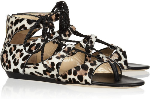 Jimmy Choo Leopard-print calf hair sandals
