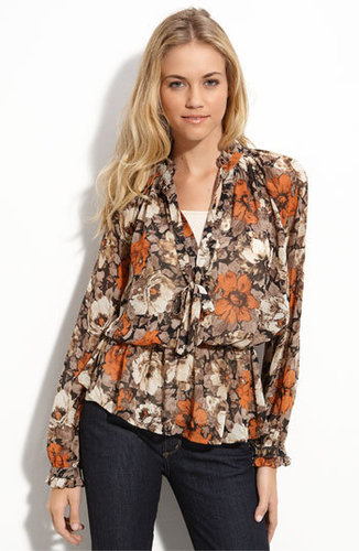 Bellatrix Tie Neck Sheer Print Blouse