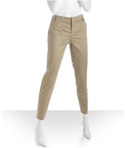 Gucci khaki cotton-silk blend slim cropped pants