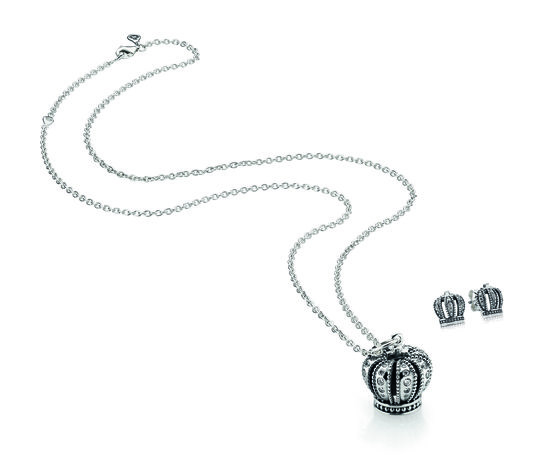 PANDORA crown necklace pendant $99, silver chain from $79 and crown stud earrings $45.