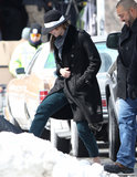 Jennifer Lawrence braved the snow in Boston.