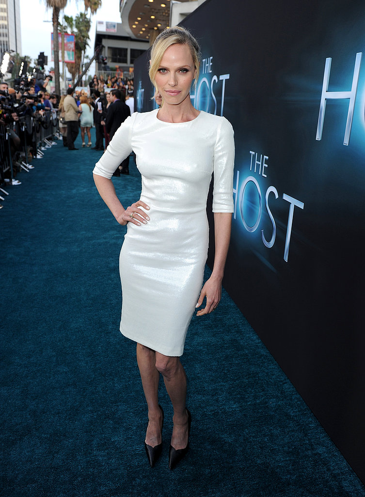 Rachel Roberts wore a formfitting white dress.