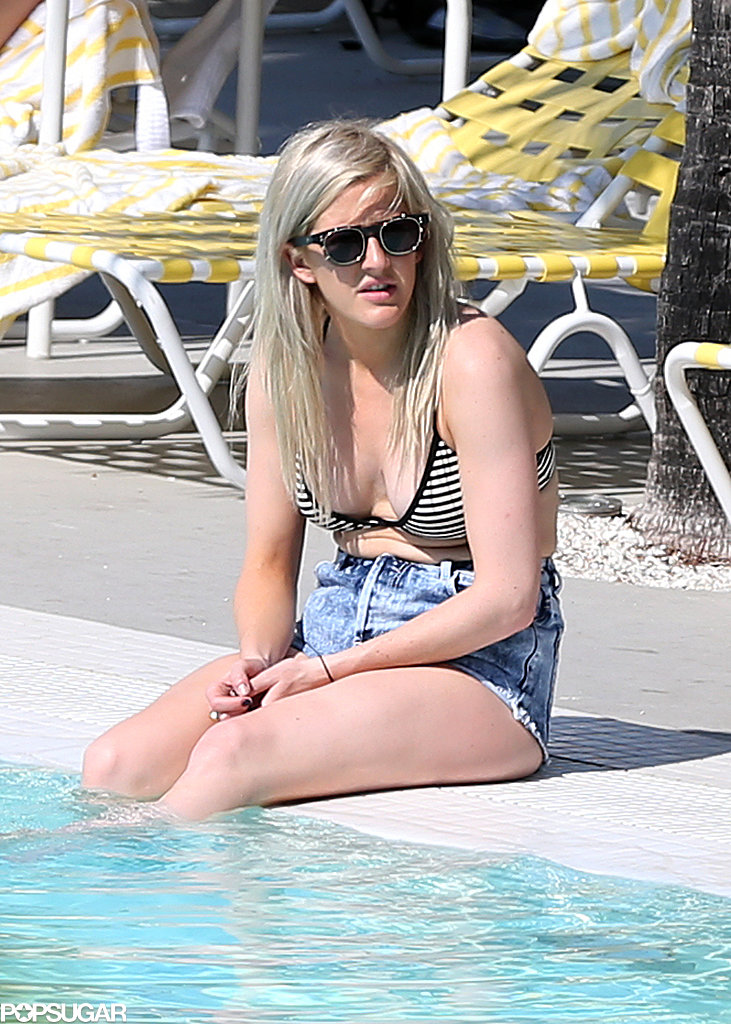Ellie Goulding wore a bikini and denim shorts poolside.