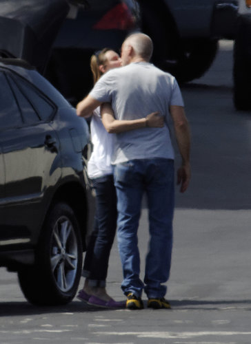 Calista Flockhart gave Harrison Ford a goodbye kiss in LA in August 2012.