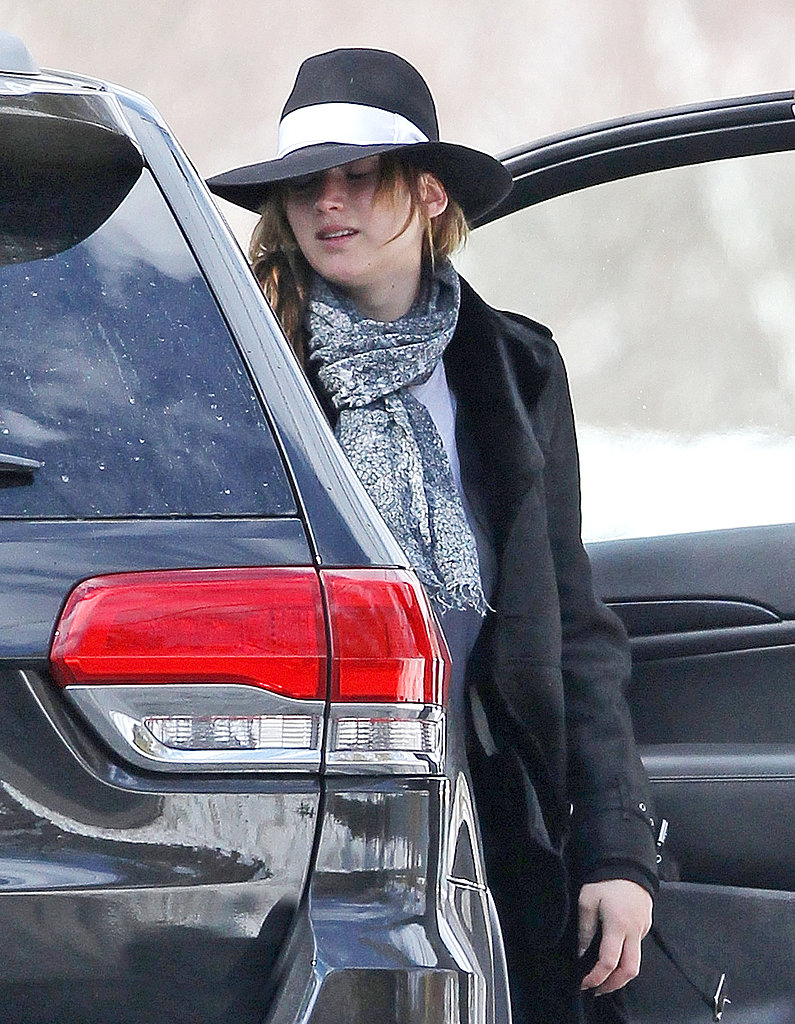 Jennifer Lawrence wore a hat and scarf to report to her David O. Russell set in Boston.