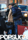 Katie Holmes hugged her lunch date in NYC.