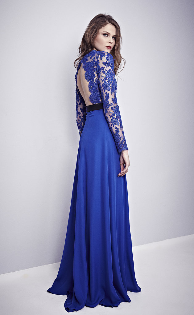 This Misha Nonoo imperial blue gown with a French lace-embroidered open back would look amazing on any red carpet and especially impeccable on Nina Dobrev.