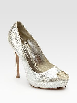 Metallic Leather Heart-Shaped Peep Toe Pumps