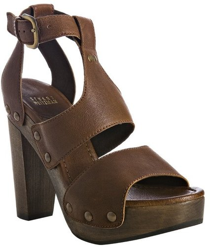 Stuart Weitzman walnut nappa leather 'Apron' studded sandals