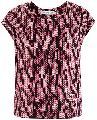 "[a href=""/womens/see-by-chloe""]See by Chloé[/a]              Knit-print silk top"