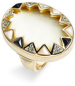 House of Harlow 1960 Enamel & Crystal Sunburst Ring