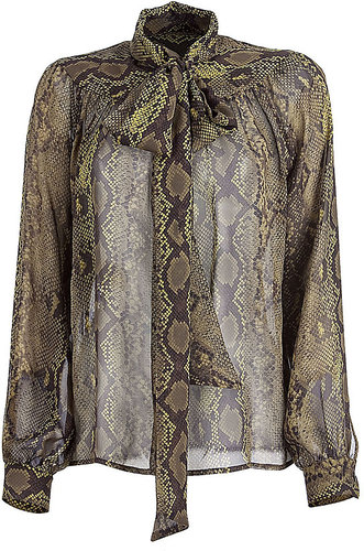 MICHAEL KORS Khaki Tie Bow Silk Blouse