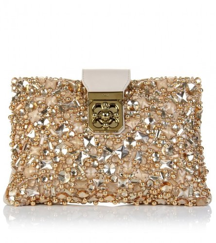 Chlo ELSIE CRYSTAL-EMBELLISHED LEATHER CLUTCH