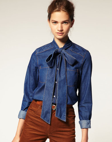 ASOS Pussy Bow Denim Blouse