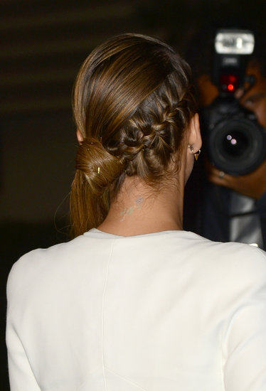 This French braid/ponytail hybrid, worn by Jessica Alba, is a great option for a polished take on the plait trend.
