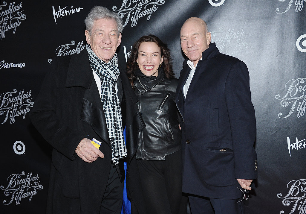 Ian McKellen and Patrick Stewart posed with Sunny Ozell at the premiere.