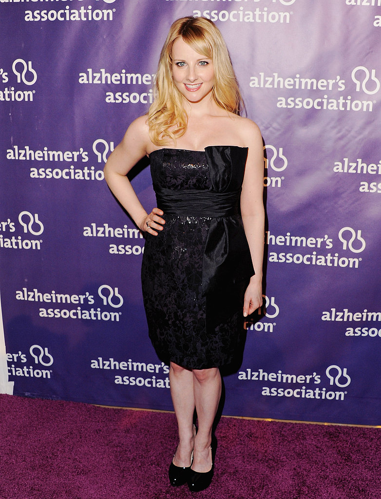 Melissa Rauch wore a strapless black number.
